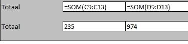 Excel sneltoets voor tonen formules