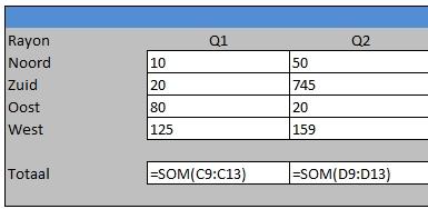 Scherm met formules in Excel