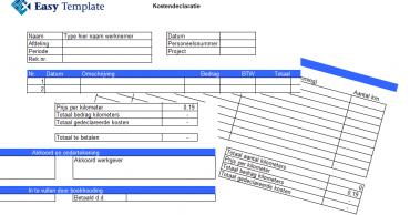 Deklaratieformulier in Excel
