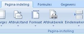 Tab Excel pagina- instellingen