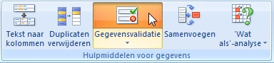 Gegevensvalidatie in Excel