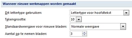 Standaard lettertype in Excel