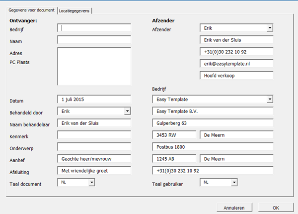 Invoerscherm in Word templates