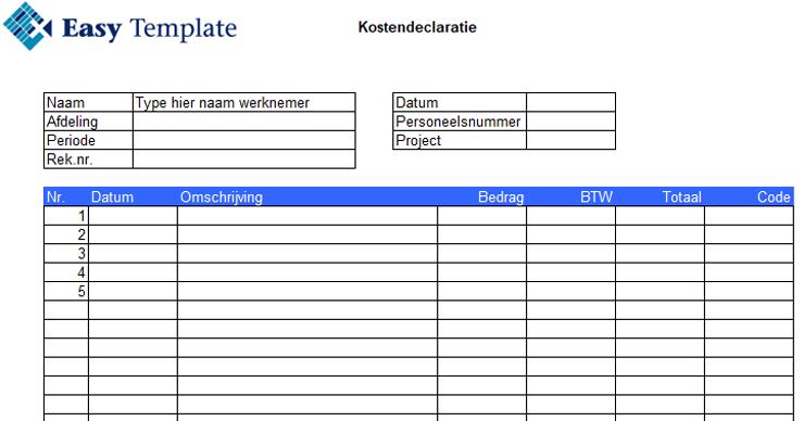 declaratieformulieren in Excel