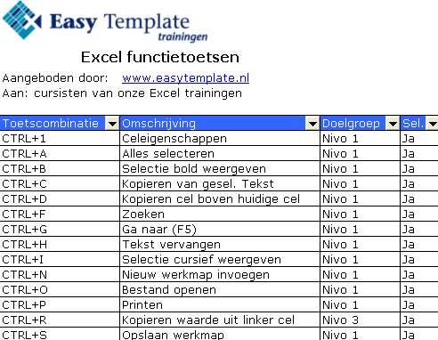 Sneltoetsen in Excel