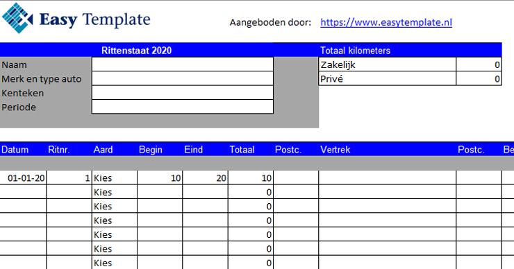 Rittenstaat in Excel invoerblad