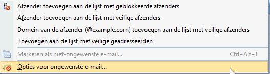 Opties voor ongewenste mail