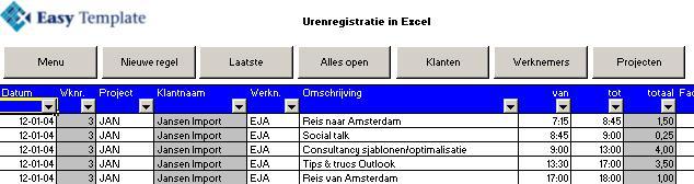 Urenregistratie in Excel invoer