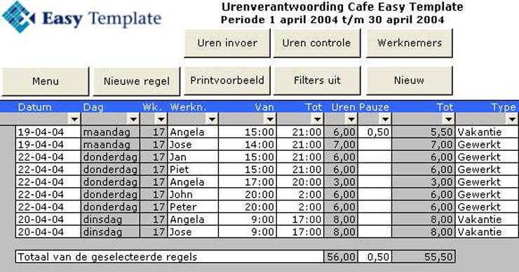 Urenregistratie Personeel in Excel