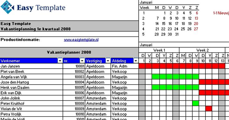 Vakantieplanner Excel