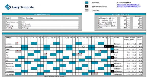 Verlofkaart in Excel overzicht